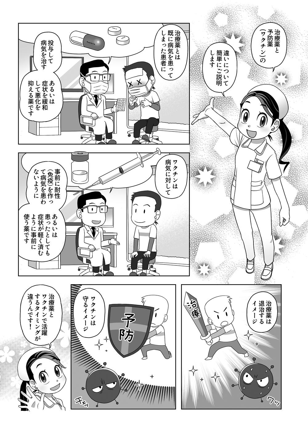 漫画: 治療薬と予防薬(ワクチン)の違い